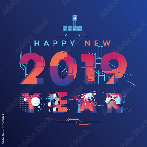 Futuristic Happy New 2019...