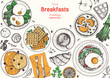 Breakfasts top view frame. Morning food menu design. Breakfast and brunches dishes collection. Vintage hand drawn sketch, vector illustration. Engraved style.