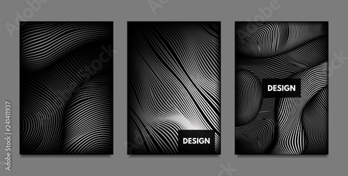 Distortion of Lines. Abstract Backgrounds with Vibrant Gradient and Wavy Stripes. Monochrome Cover Templates Set with Volume and Metallic Effect. Distorted Shapes for Business Presentation, Brochure. - 241411937