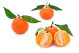 clementine con foglie e senza semi - isolate