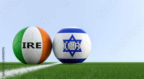 Ireland vs. Israel Soccer Match - Soccer balls in Israel and Ireland national colors on a soccer field. Copy space on the right side - 3D Rendering