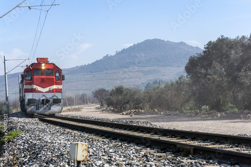 Red TRain On Railway