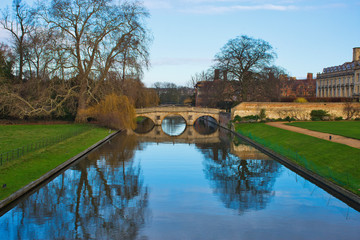 European Travel and Adventure - University of Cambridge, England. River Cam in Cambridgeshire