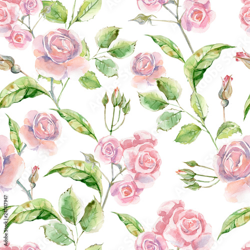 Watercolor seamless pattern with luxery flowers. Roses and herbs