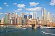 New York City skyscrapers and Brooklyn Bridge, United States
