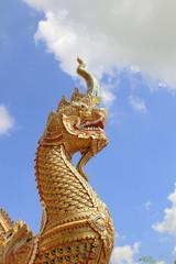 Big serpant at the temple. Art of Thailand's serpent © jamroenjaiman