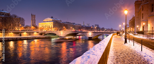 Snow and River Seine in Paris, France
