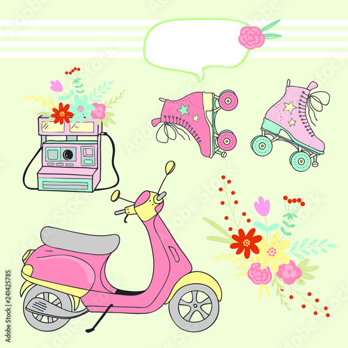 vintage set of vector drawings, pink scooter, rollers, camera, bouquet of flowers