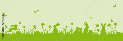 Green easter holiday scene banner with bunnies, eggs, flowers vector illustration - 241431520
