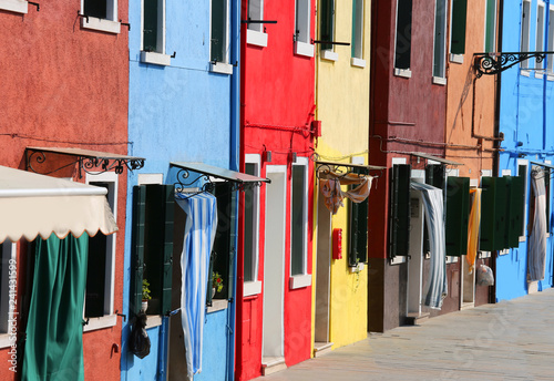 colored houses in the Burano Island near Venice in Italy - 241431599