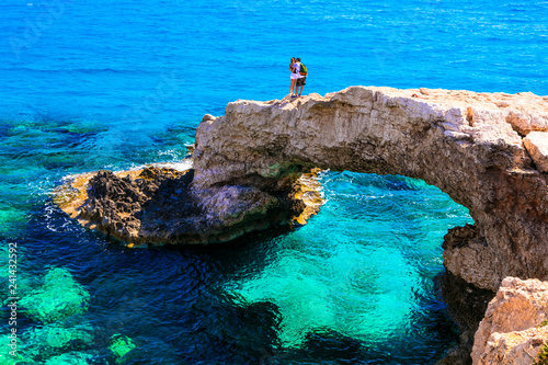 Beautiful sea of Cyprus. arch bridge (bridge of lovers) near Agia Napa