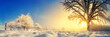Leinwanddruck Bild - Panorama von stimmungsvoller Winterlandschaft