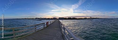 Beautiful sunset panorama at the baltic sea beach in december