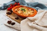 French Tartiflette Recipe Bacon, Potato and Reblochon Cheese Gratin - 241439558