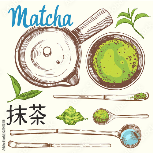Japaneese ethnic and national tea ceremony. Matcha. Traditions of teatime. Decorative elements for your design. Vector Illustration with party symbols on white background.