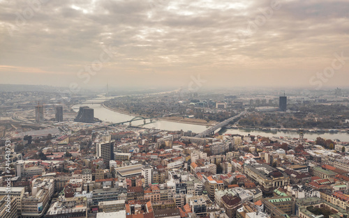 Cityscape of Belgrade at cloudy day. Aerial view
