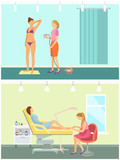 Tanning in Spa Salon and Pedicure Nail Vector - 241444397