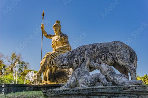 Statue of Rome Triumphant in Villa d'Este in Tivoli, Italy