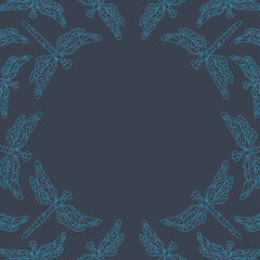 Line dragonfly frame. Vector illustration