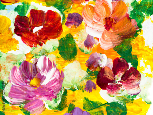 Abstract colorful flowers, hand painted background © Artlu