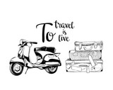 Hand drawn vector illustration - To travel is to live. Suitcases and scooter.