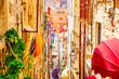 Leinwanddruck Bild - Street in The Old Town of Dubrovnik