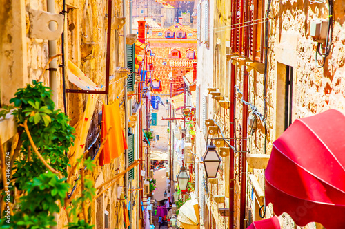 Leinwanddruck Bild Street in The Old Town of Dubrovnik