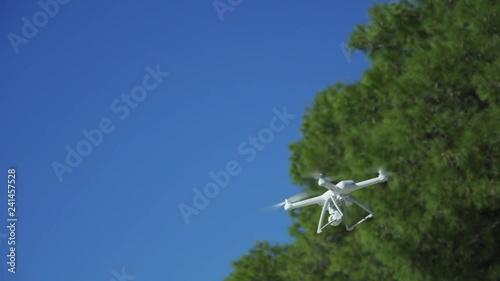 Drone flies. Slow motion