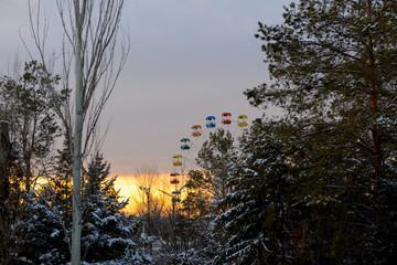 Ferris wheel in the winter park © vrej