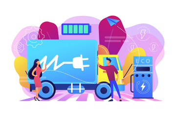 Eco-friendly elecrtic truck with plug charging battery at the charger station. Electric truck, eco-friendly logistics, modern transportation concept. Bright vibrant violet vector isolated illustration