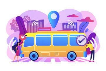 Passengers like and approve autonomos robotic driverless bus. Autonomous public transport, self-driving bus, urban transport services concept. Bright vibrant violet vector isolated illustration