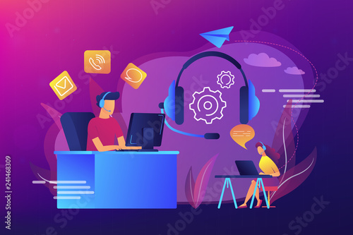 Contact center agents with headsets working at computers. Contact center, customer service point, customer relationship management concept. Bright vibrant violet vector isolated illustration
