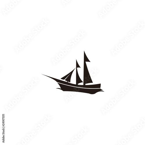 Sailing Yacht Logo Design Template Sailboat Flat Icons Boat On White