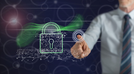 Man touching a digital security concept © thodonal