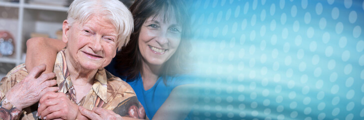 Portrait of happy grandmother with her daughter. panoramic banner © thodonal