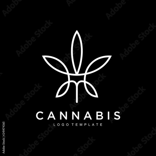 cannabis hemp marijuana leaf geometric outline line art Logo design inspiration