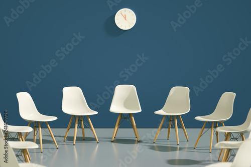 Leinwanddruck Bild circle of modern design chairs with one odd one out. Job opportunity. Business leadership. recruitment concept. 3D rendering