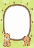 Cute blank frame with adorable dog vector
