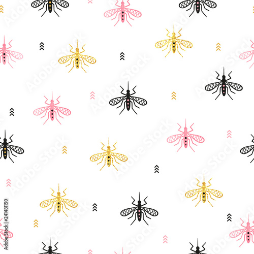Seamless mosquito pattern. Vector background with gnat. - 241481150