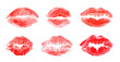 Leinwandbild Motiv Set with color lipstick kiss marks on white background
