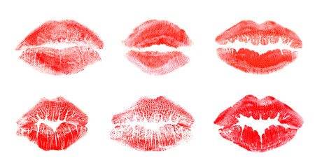 Set with color lipstick kiss marks on white background