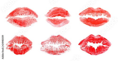 Leinwanddruck Bild Set with color lipstick kiss marks on white background