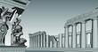 Parthenon and Erechtheum at Acropolis in Athens, Greece. One of the Erechtheum Caryatids has fallen