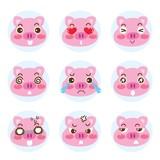 Set of cartoon emoji cute faces pig character icons. Vector illustration