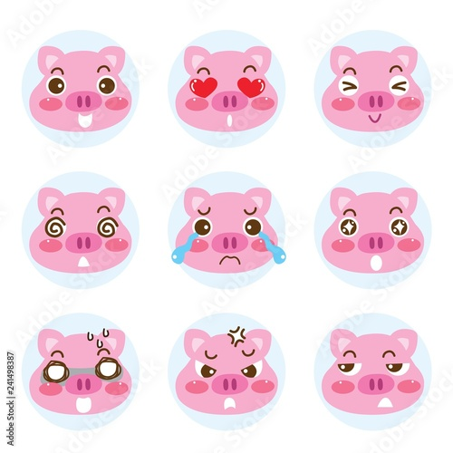 Set of cartoon emoji cute faces pig character icons. Vector illustration