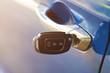 Car key inserted in lock