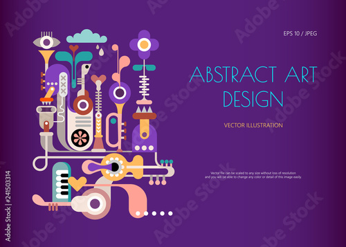 Music Jukebox. Abstract art design isolated on a dark violet background. Vector poster design with abstract decorative composition and place for text.
