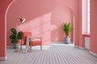 Modern mid century and minimalist interior of living room ,Living coral decor concept,vintage pink armchair with coral wall on white floor ,3d render3d render