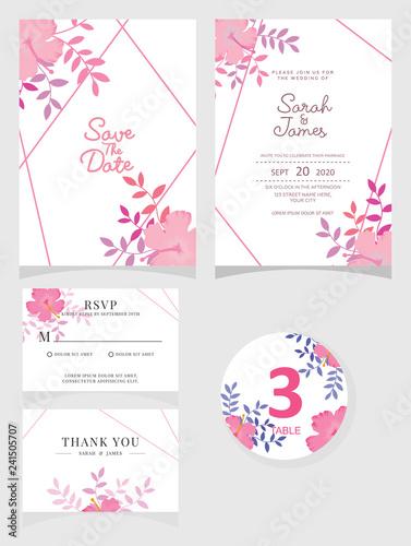 wedding invitation card template Vector illustration.