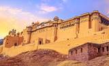 Amer Fort Jaipur Rajasthan exterior architecture with moody sunset sky. A UNESCO World Heritage site. - 241505976